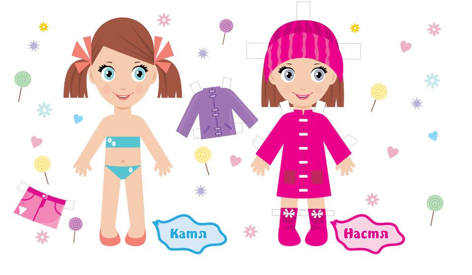 Бумажные куколки-сестрички Катя и Настя.