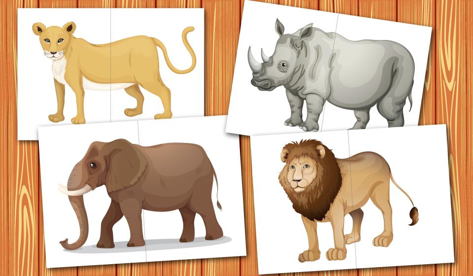 Картинки разрезные животные